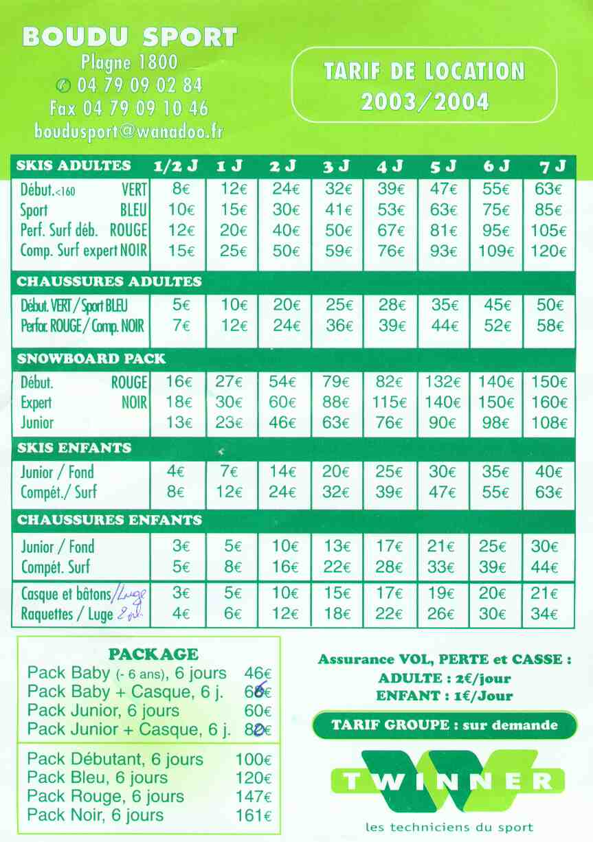 A sample price list for ski equipment hire – Sample Price Sheet